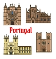 Historic buildings and sightseeings of Portugal vector image vector image