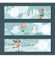 Horizontal banners with children playing outdoor vector image vector image