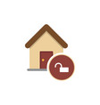 house with an open lock icon for web mobile vector image vector image