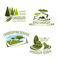 icons gardening landscape design company vector image vector image