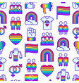 lgbt seamless pattern with thin line icons vector image