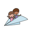 little boy and girl playing in paper plane vector image