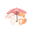 lovely white little bunny and fox cub standing vector image vector image