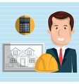 man architect tools vector image vector image