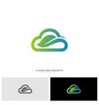 nature cloud logo design concept cloud with leaf vector image vector image