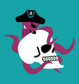 octopus pirate and skull poulpe buccaneer and vector image vector image