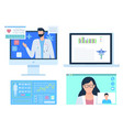 online consultation with doctor nurse and doc vector image vector image