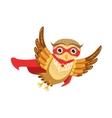 Owl Superhero Cute Cartoon Character Emoji With vector image vector image