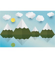 paper art mountian and sun cloud in the sky vector image vector image