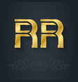 r and r initials or gold logo rr - metallic 3d vector image vector image