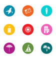 recipient country icons set flat style vector image vector image