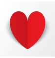 Red paper heart Valentines day card on white vector image