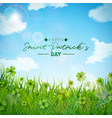 saint patricks day with green clovers vector image vector image