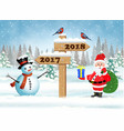 santa claus with gift bag and snowman vector image