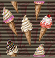 seamless pattern with ice cream for your design vector image vector image