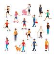 set city people walking cartoons vector image vector image