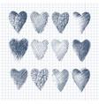 set hand drawn hearts vector image vector image