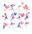 set happy woman and man holding hearts vector image