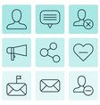 set of 9 social network icons includes bullhorn vector image vector image