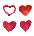 Set of watercolor red hearts vector image vector image