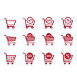 shopping cart icon set sale and discount icons vector image vector image