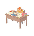 sketch stressed exhausted girl sitting vector image vector image