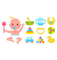 small kid with raised hands that holding rattle vector image vector image