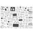 social media doodle elements network hand drawn vector image