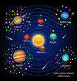 solar system planets with moons education vector image vector image
