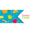 summer time banner with tropical fruit ice cream vector image vector image