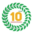 Template Logo 10 Anniversary in Laurel Wreath vector image