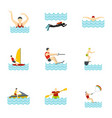 water activities icons set flat style vector image vector image