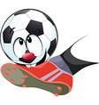 kick the ball biting - funny vector image