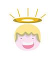 tender happy angel head with aureole design vector image