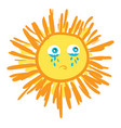 a crying sun or color vector image