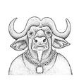 African Buffalo Engraving vector image vector image