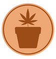 Cannabis pot bronze coin