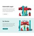 Car repair shop station banner repairman vector image