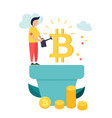 cartoon man growing bitcoins vector image vector image
