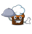 chef with food bread basket mascot cartoon vector image