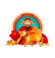 chinese god wealth with golden ingot and ox vector image