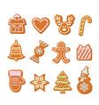 christmas gingerbread cookies set hand drawn vector image vector image