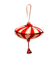 christmas hanging toy festive striped decoration vector image vector image