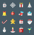 Christmas icons in flat design style for web and vector image vector image