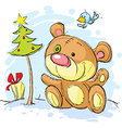 christmas postcard with bear and tree vector image vector image