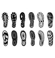 collection footprints human shoes silhouette vector image vector image