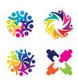 community colorful theme icon set clip art designs vector image