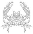 crab coloring page vector image vector image