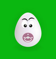 cute baby egg character with green background vector image vector image