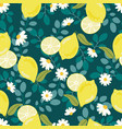 cute flat style yellow lemon with white flower on vector image vector image
